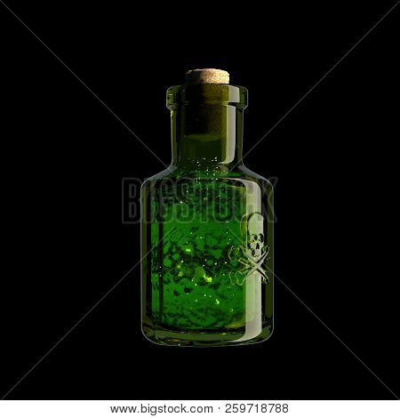 A Glass Vial With A Skull And Bones And A Green Substance Inside. Poison, Venom. Poisoning, Politica