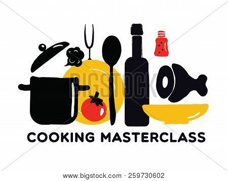 Cooking Masterclass Poster. Illustration Of Utensils And Food.
