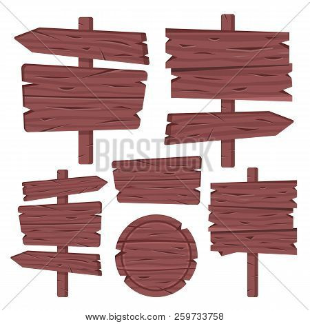 Wooden Sign Boards Set. Wood Boards, Signposts, Plates, Arrows. Old Brown Planks. Blank Wood Signboa