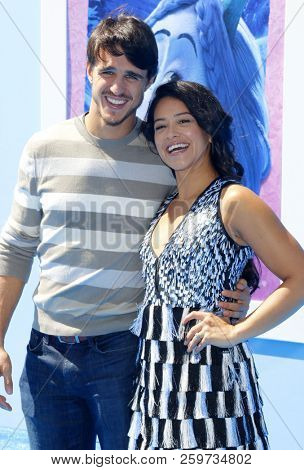 Gina Rodriguez and Joe LoCicero at the Los Angeles premiere of 'Smallfoot' held at the Regency Village Theatre in Westwood, USA on September 22, 2018.