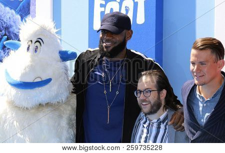 LeBron James, Migo, Channing Tatum and Ely Henry at the Los Angeles premiere of 'Smallfoot' held at the Regency Village Theatre in Westwood, USA on September 22, 2018.