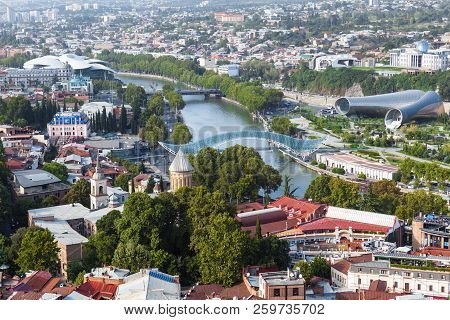 Tbilisi, Georgia - September 01, 2018 Panoramic Aerial View Of Tbilisi City, Beautiful Combination O