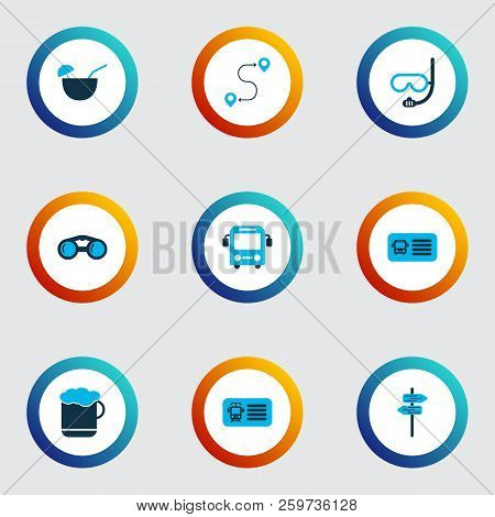 Trip Icons Colored Set With Bus, Route, Beer And Other Entry Coupon Elements. Isolated Vector Illust