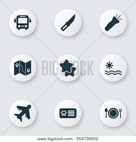 Journey Icons Set With Aircraft, Bus, Restaurant And Other Favorite Elements. Isolated Vector Illust