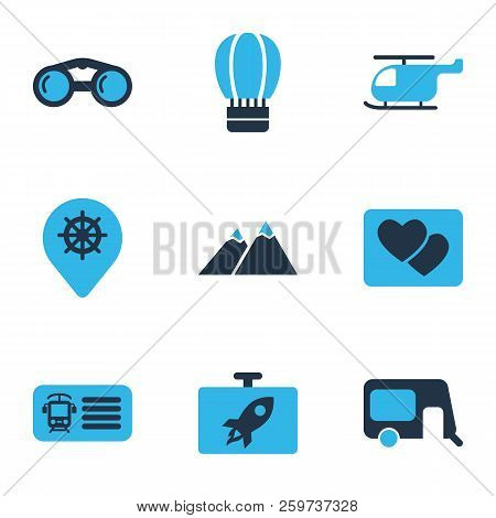 Trip Icons Colored Set With Binoculars, Helicopter, Train Ticket And Other Rocket Elements. Isolated
