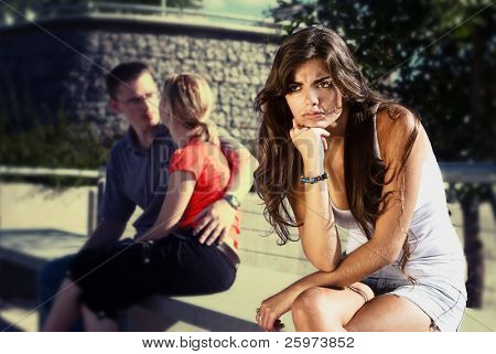 The young girl in an expectation condition