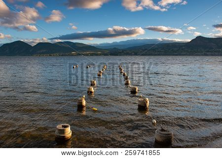 Dock Pilings Sticking Out From The Water Of Beautiful Okanagan Lake Bc Canada