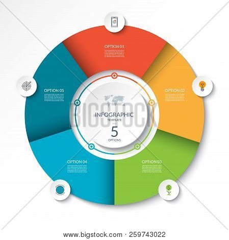 Circular Infographic Flow Chart. Process Diagram Circle Or Pie Graph With 5 Options, Parts, Segments