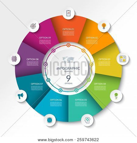 Circular Infographic Flow Chart. Process Diagram Circle Or Pie Graph With 9 Options, Parts, Segments