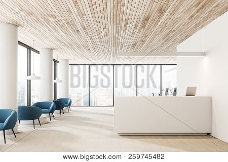 White Walls And Columns Office Reception Hall Interior With Wooden Ceiling, White Reception Desk Wit