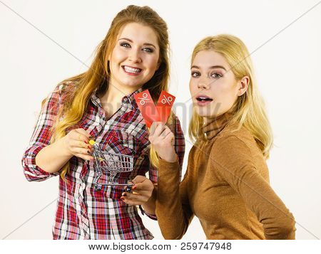 Two Women Shopping Cart With Sale