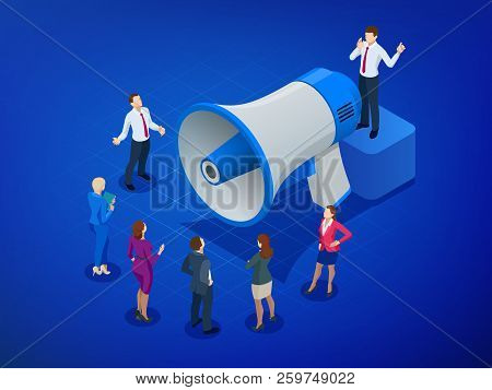 Isometric Megaphone And People. Digital Marketing, Blog Marketing, Blog Post Sharing, Social Media M