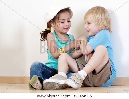Children playing to a kindergarten