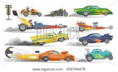 Race Car Vector Drag Racing On Speedcar On A Track And Auto Bolide Driving On Rally Sport Event Form