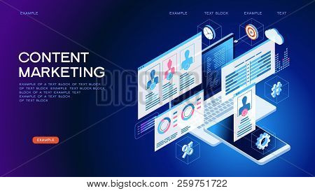 Technology Concept. Content Marketing Strategy Web Banner. Marketing And Sharing Of Digital Content.
