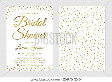 Gold Confetti Bridal Shower Invitation Card Front And Back Side. Golden Glittering Polka Dots Bridal