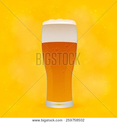 Realistic Glass Of Beer On Bright Yellow And Orange Background. Light Lager Beer Froth And Bubbles.