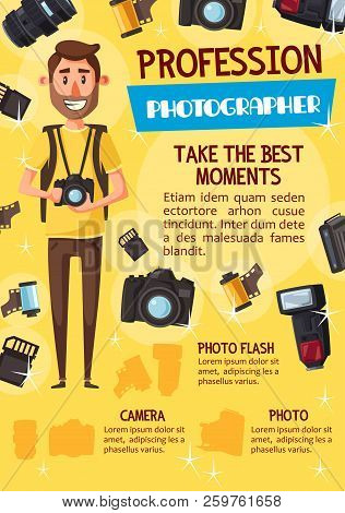 Professional Photographer With Photo Camera, Photography Profession Theme. Young Man Journalist, Sur