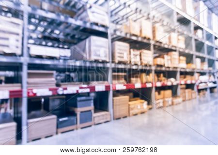 Blurry Background Large Ready-to-assemble Furniture Warehouse In Texas, Usa