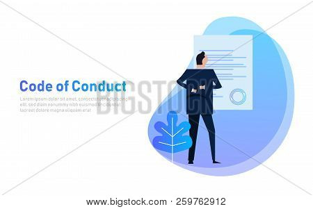 Code Of Conduct. Business Man Looking At Paper. Concept Of Ethical Integrity Value And Ethics. Illus