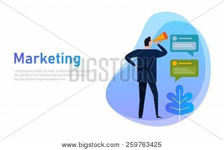 Marketing Banner Concept. Businessman Communicates Shouting Loud Holding A Megaphone, Expressing Con