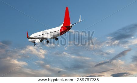 A skyscape view of a commercial passenger jet aircraft flyng in a pale blue sky, with creamy pink wispy Cumulus clouds. On approach to Sir Kingsford Smith Airport, Sydney, Australia. poster