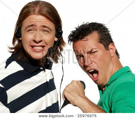 Happy karaoke signers. Isolated over white background
