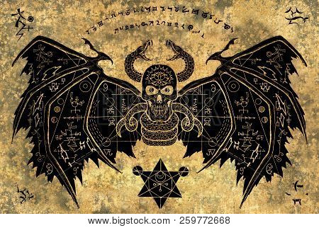 Winged demon with mystic symbols on grunge paper background. Esoteric, occult, new age and wicca concept, Halloween illustration with mystic symbols and sacred geometry poster