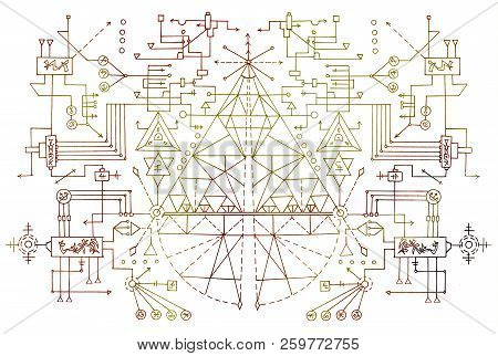 Mystic geometric lines, symbols and figures on white background. Esoteric, occult, new age and wicca concept, fantasy pattern with mystic symbols and sacred geometry poster