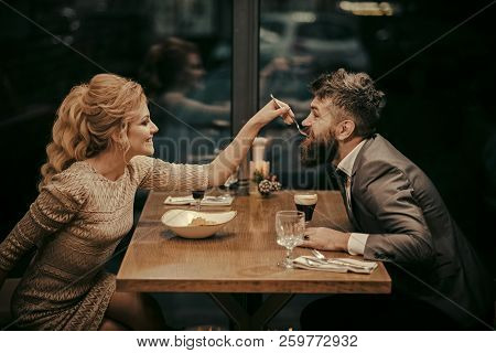 Valentines Day With Sexy Woman And Bearded Man. Date Of Family Couple In Romantic Relations, Love. C