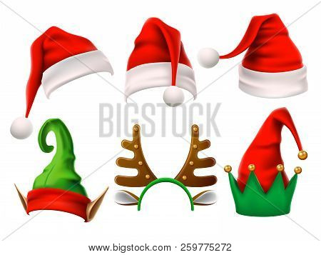 Christmas Holiday Hat. Funny 3d Elf, Snow Reindeer And Santa Claus Hats For Noel. Elves Clothes Isol