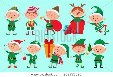 Christmas Elf Character. Santa Claus Helpers Cartoon, Cute Dwarf Elves Fun Characters Vector Isolate