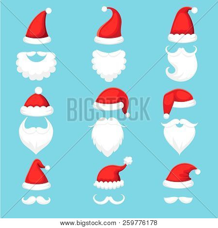 3808d152736 Santa Claus hat and beard. Christmas traditional red warm hats with fur