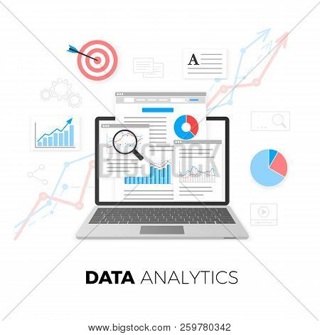 Data Analytics Concept. Seo Optimization. Search Engine Optimization. Seo Content Marketing. Web Ana