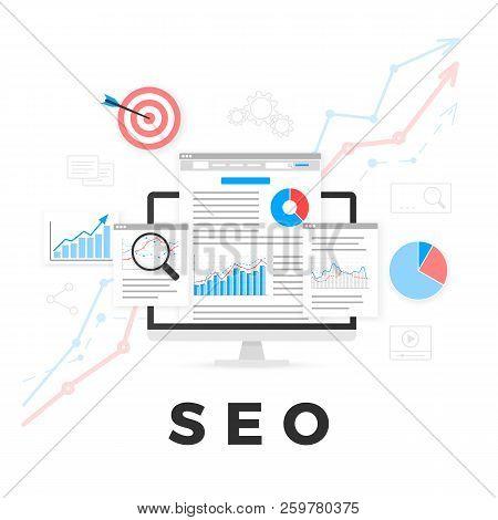 Seo Optimization Concept. Search Engine Optimization. Seo Content Marketing. Web Analytics Design. V