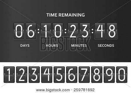 Flip Countdown Clock Counter Timer. Time Remaining Count Down Board With Scoreboard Of Day, Hour, Mi