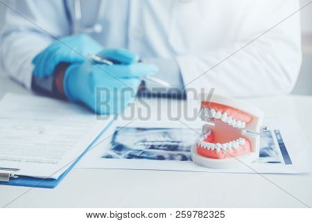 Dentist With Denture Learning How To Teeth At Dentist's Office