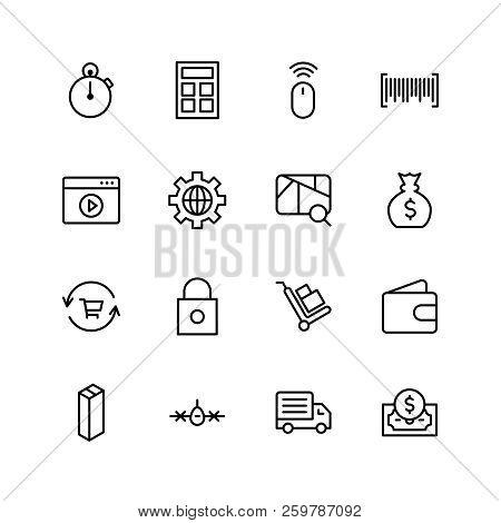 Online Supermarket Flat Icon Set. Single High Quality Outline Symbol Of Info For Web Design Or Mobil