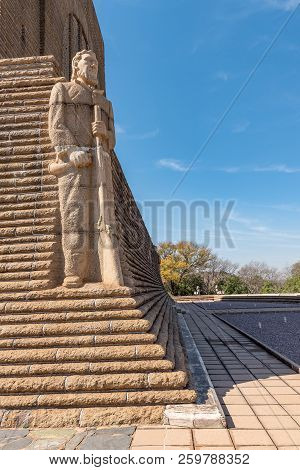 Pretoria, South Africa, July 31, 2018: A Granite Sculpture Of Voortrekker Leader Hendrik Potgieter O