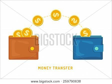 Money Transfer Between Wallets, Flat Styling. Vector Illustration Of Online Payment, Money Transfer.