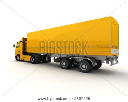Rear View Of A Big Yellow Truck