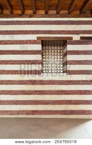 Background Of Old Wall With Red Bricks And Yellow Stones, Cairo, Egypt