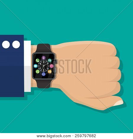 Smart Watch On Hand. Modern Hand Electronic Watches. Touch Screen And Plastic Sport Band. Fitness Cl