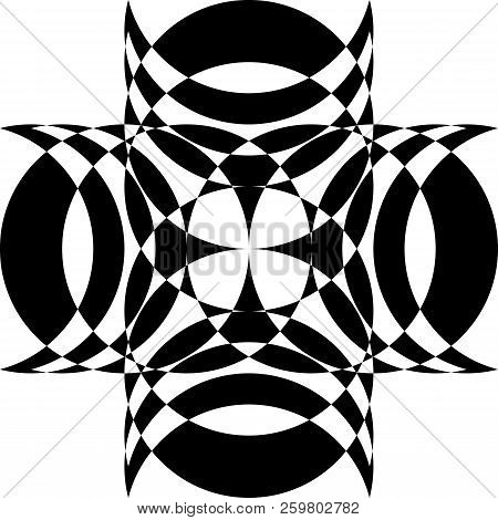 Abstract Arabesque Cross Lenses Intersection Design Black On Transparent Background