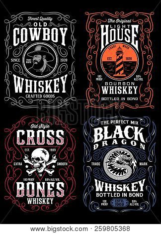 Vintage Whiskey Label T-shirt Graphic Collection On Black