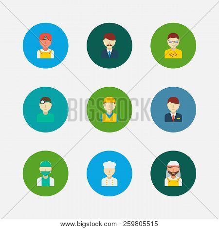 Occupation Icons Set. Indian Worker And Occupation Icons With Arab Worker, Dentist And Construction