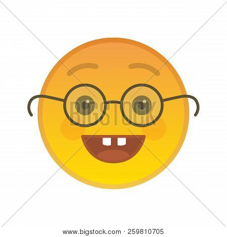 Nerd Emoticon With Glasses Isolated On White Background. Wiseacre Yellow Emoji Symbol. Social Commun