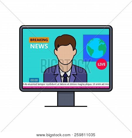 Breaking News With Male Speaker On Lcd Display Thin Line Icon. World News Live Broadcasting Vector I