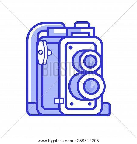 Vintage Twin Lens Reflex Camera Icon. Old Manual Photographic Equipment In Line Style. Retro Photogr