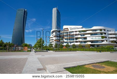 Milan, Italy, June 7, 2017 - Isozaki Tower And Hadid Tower In